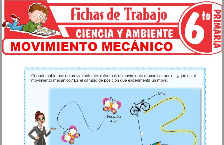 Modelos de la Ficha de Movimiento mecánico para Sexto de Primaria