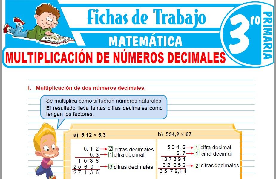 Modelos de la Ficha de Multiplicación de números decimales para Tercero de Primaria