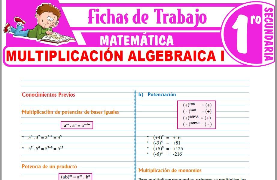 Modelos de la Ficha de Multiplicación algebraica I para Primero de Secundaria