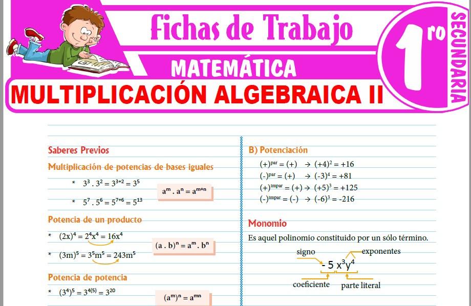 Modelos de la Ficha de Multiplicación algebraica II para Primero de Secundaria
