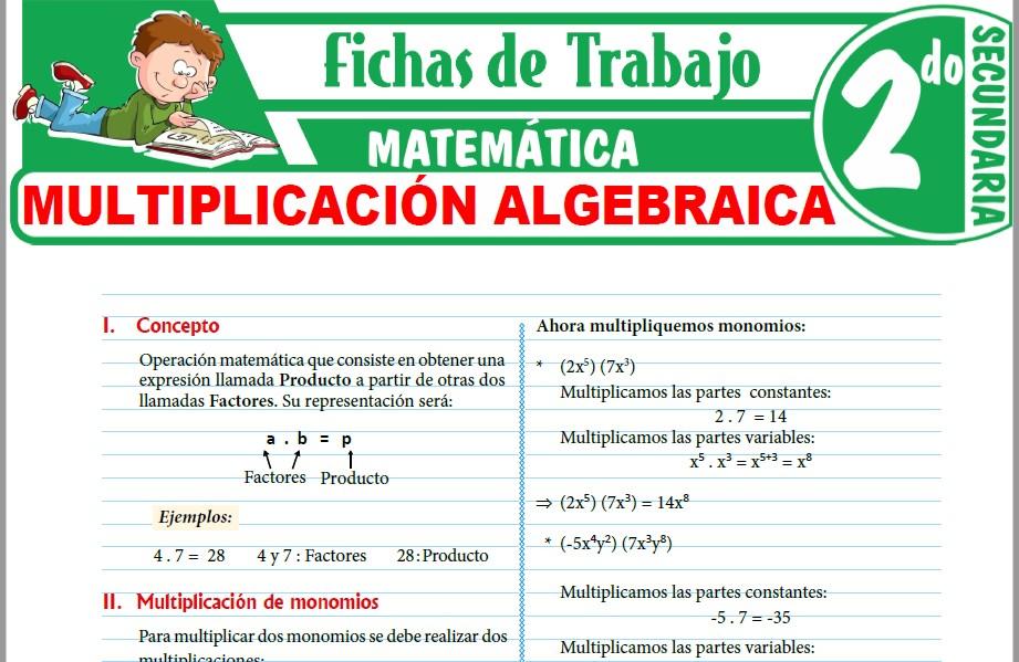 Modelos de la Ficha de Multiplicación algebraica para Segundo de Secundaria