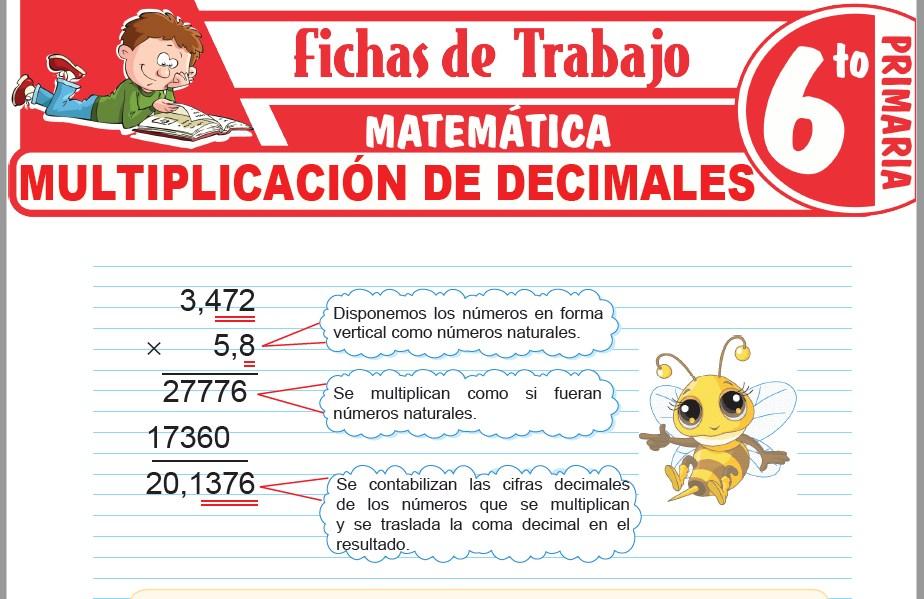 Modelos de la Ficha de Multiplicación de decimales para Sexto de Primaria