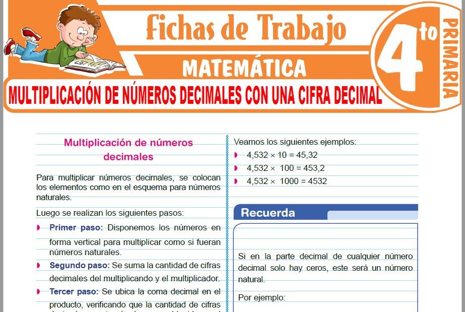 Modelos de la Ficha de Multiplicación de números decimales con una cifra decimal para Cuarto de Primaria