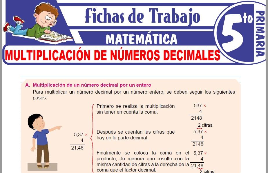 Modelos de la Ficha de Multiplicación de números decimales para Quinto de Primaria