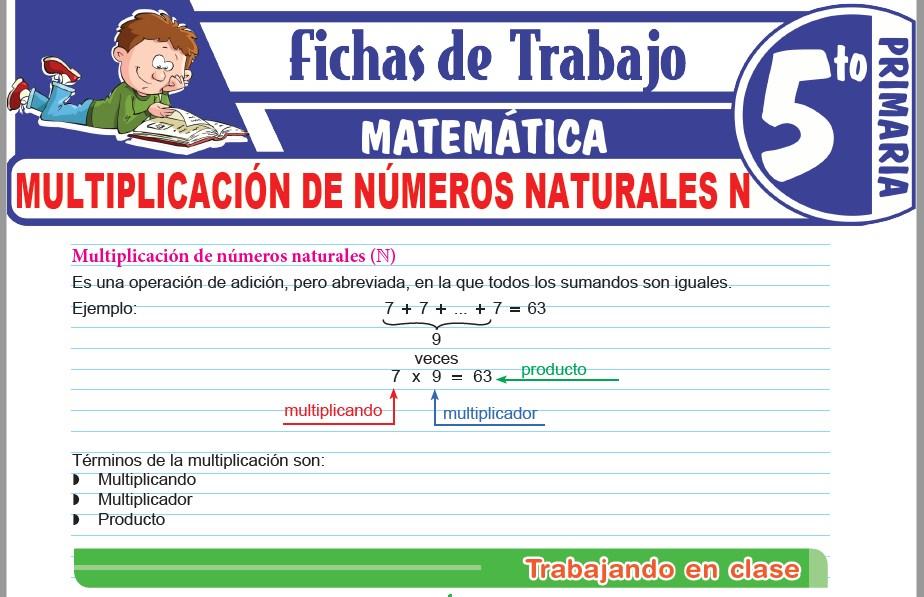 Modelos de la Ficha de Multiplicación de números naturales N para Quinto de Primaria