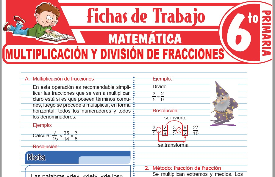 Modelos de la Ficha de Multiplicación y división de fracciones para Sexto de Primaria