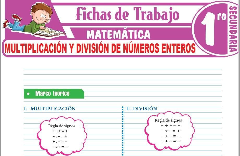 Modelos de la Ficha de Multiplicación y división de números enteros para Primero de Secundaria