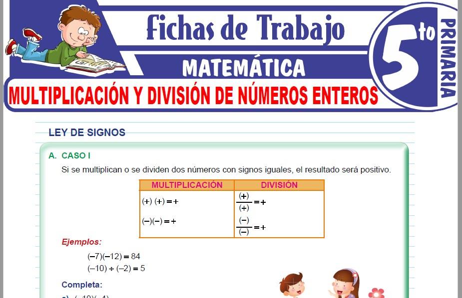 Modelos de la Ficha de Multiplicación y división de números enteros para Quinto de Primaria