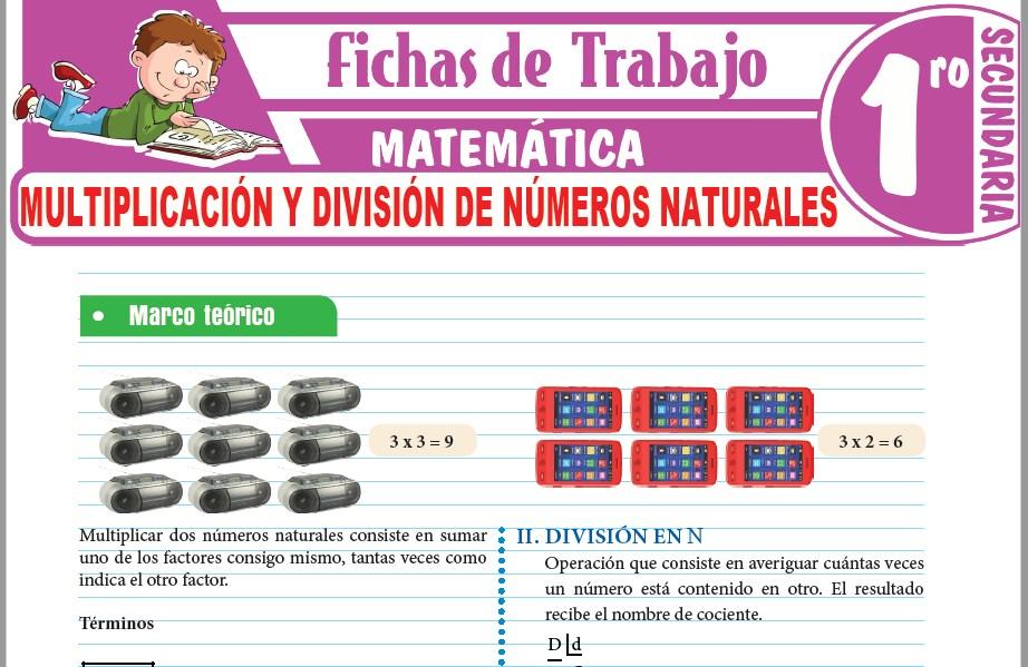 Modelos de la Ficha de Multiplicación y división de números naturales para Primero de Secundaria