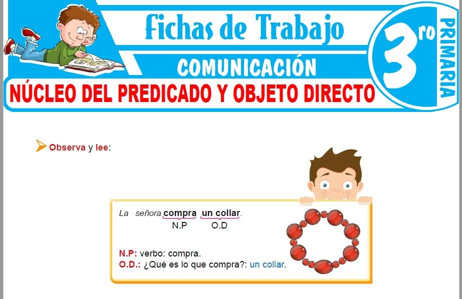 Modelos de la Ficha de Núcleo del predicado y objeto directo para Tercero de Primaria