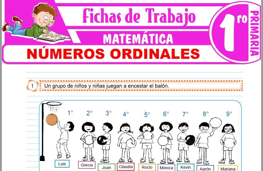 Modelos de la Ficha de Números ordinales para Primero de Primaria