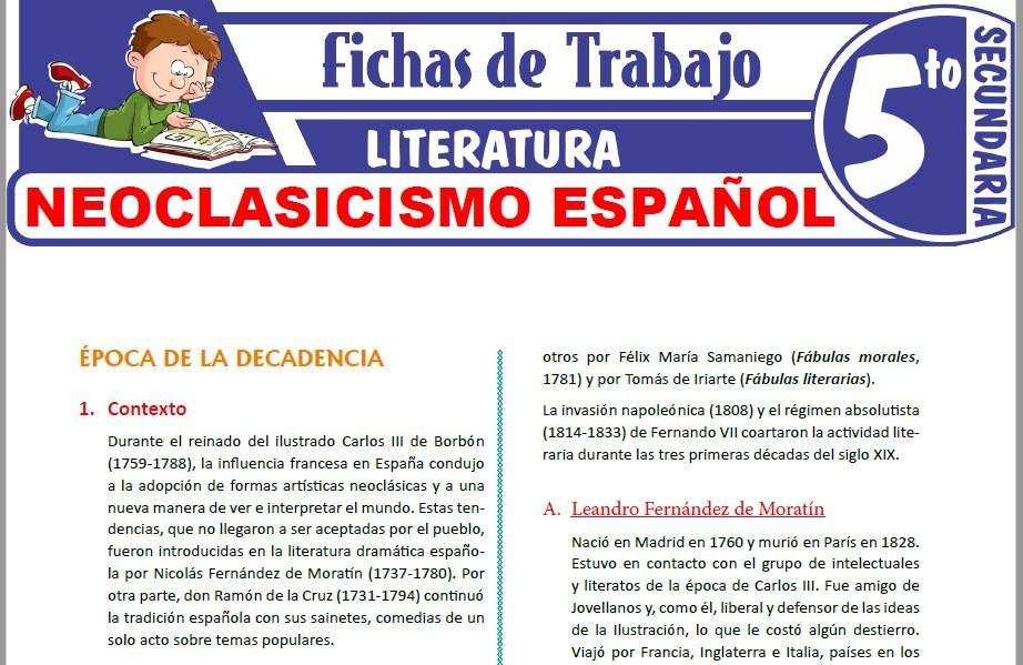 Modelos de la Ficha de Neoclasicismo español para Quinto de Secundaria
