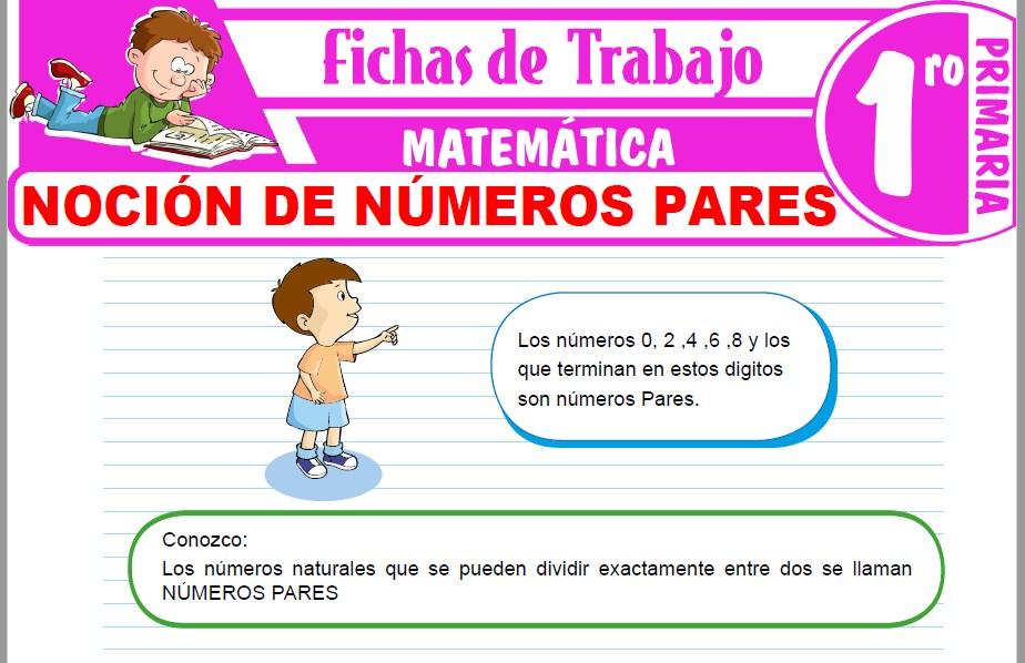 Modelos de la Ficha de Noción de números pares para Primero de Primaria