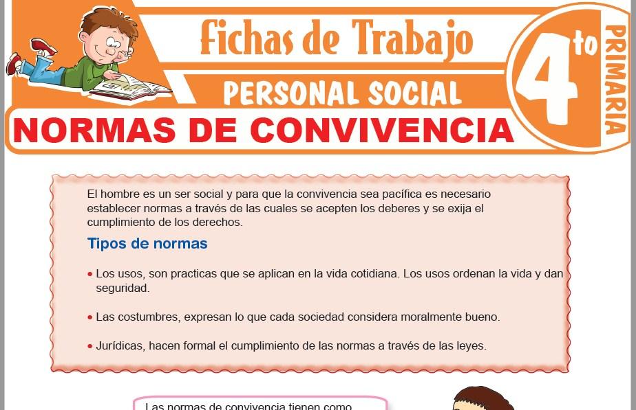 Modelos de la Ficha de Normas de convivencia escolar para Cuarto de Primaria