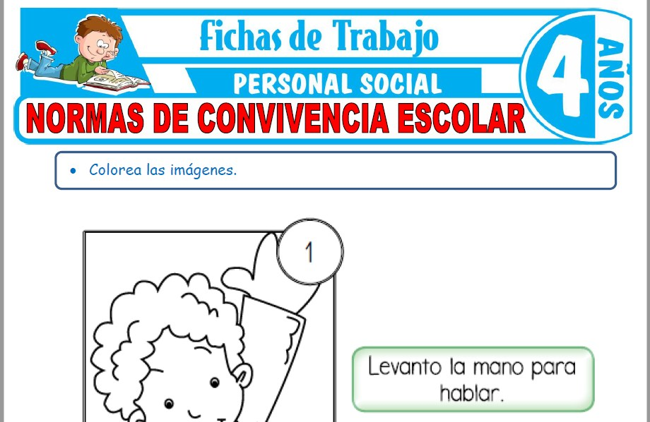 Modelos de la Ficha de Normas de convivencia escolar para Niños de Cuatro Años