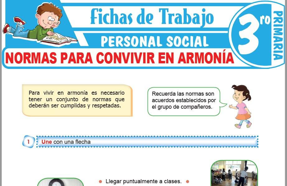 Modelos de la Ficha de Normas para convivir en armonía para Tercero de Primaria