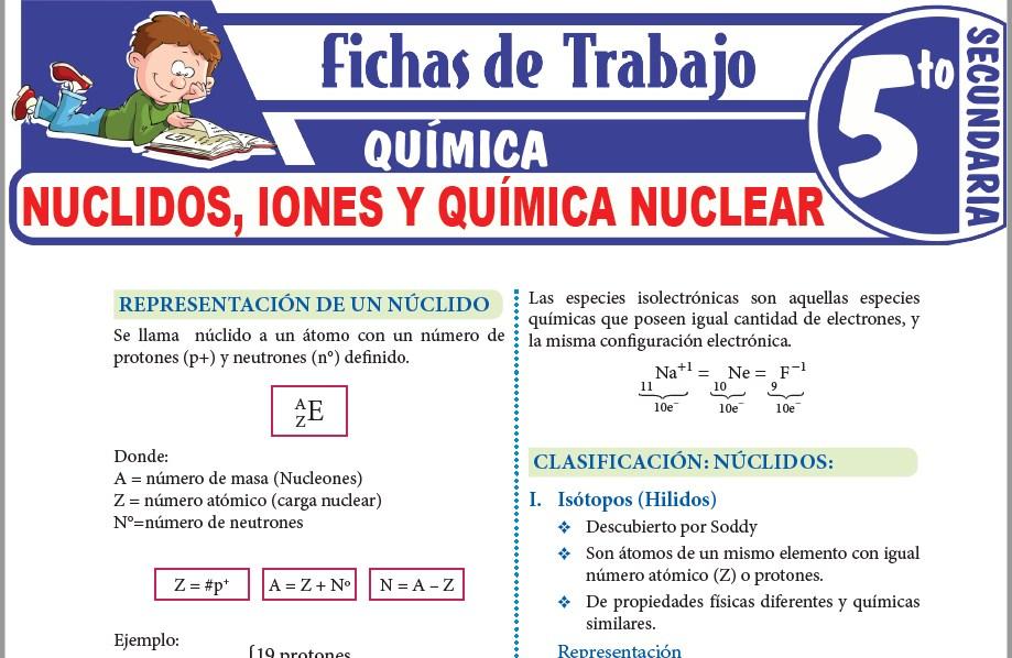 Modelos de la Ficha de Nuclidos, iones y química nuclear para Quinto de Secundaria