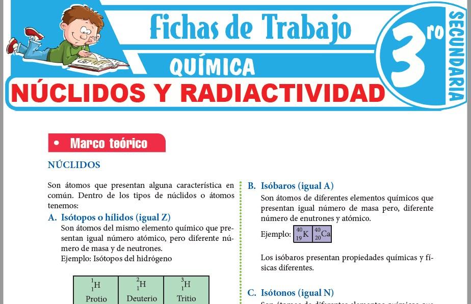 Modelos de la Ficha de Núclidos y Radiactividad para Tercero de Secundaria