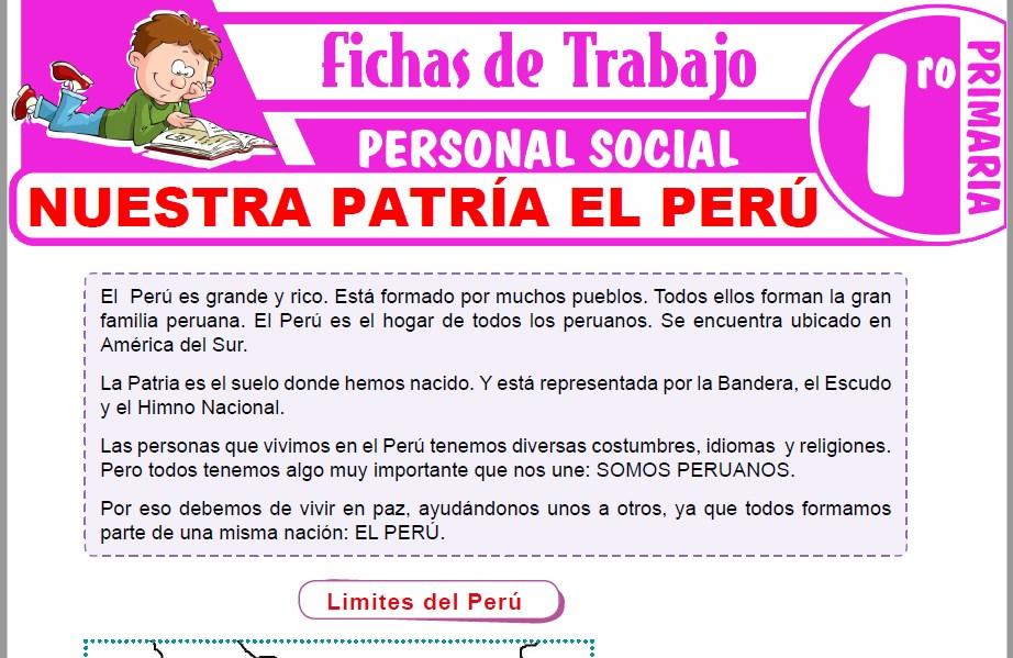 Modelos de la Ficha de Nuestra patría el Perú para Primero de Primaria