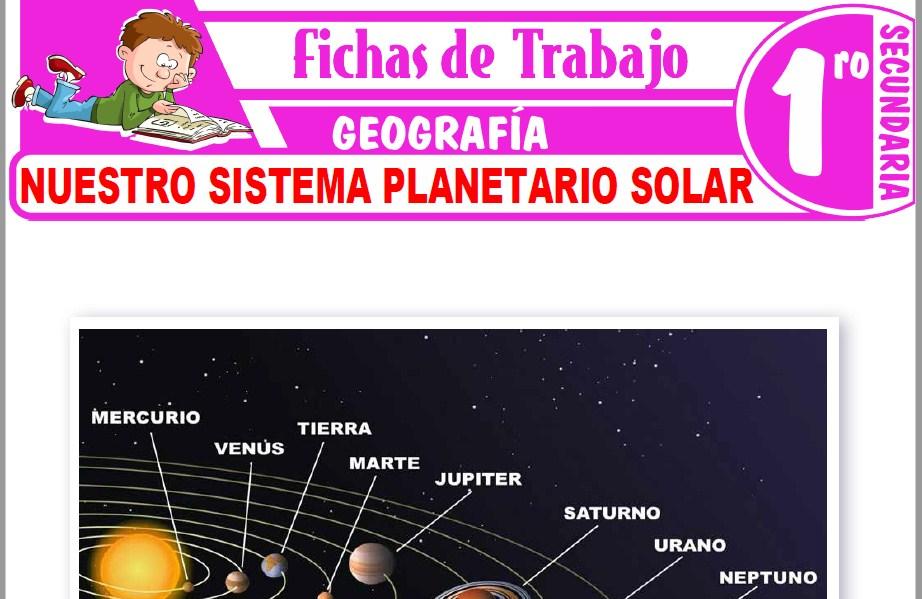 Modelos de la Ficha de Nuestro Sistema Planetario Solar para Primero de Secundaria