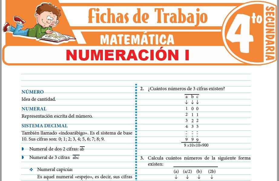 Modelos de la Ficha de Numeración I para Cuarto de Secundaria