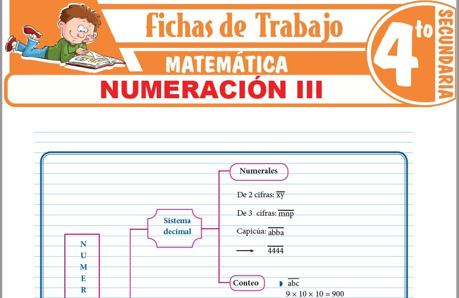 Modelos de la Ficha de Numeración III para Cuarto de Secundaria