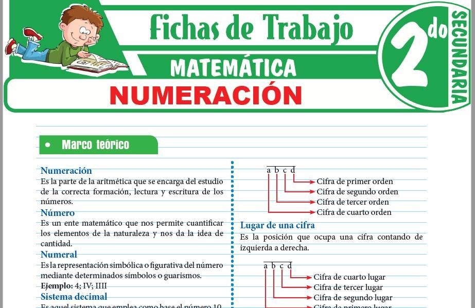 Modelos de la Ficha de Numeración para Segundo de Secundaria