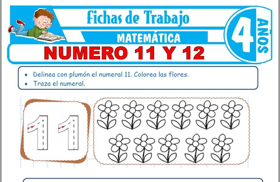 Modelos de la Ficha de Número 11 y 12 para Niños de Cuatro Años