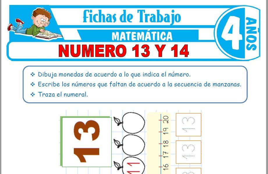 Modelos de la Ficha de Número 13 y 14 para Niños de Cuatro Años
