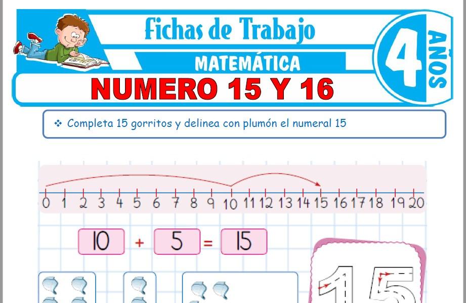 Modelos de la Ficha de Número 15 y 16 para Niños de Cuatro Años