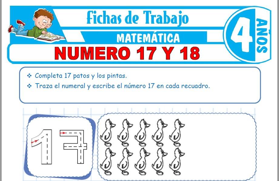 Modelos de la Ficha de Número 17 y 18 para Niños de Cuatro Años
