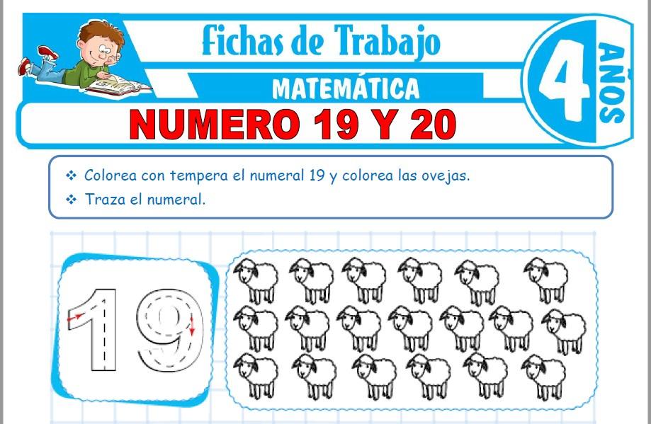 Modelos de la Ficha de Número 19 y 20 para Niños de Cuatro Años