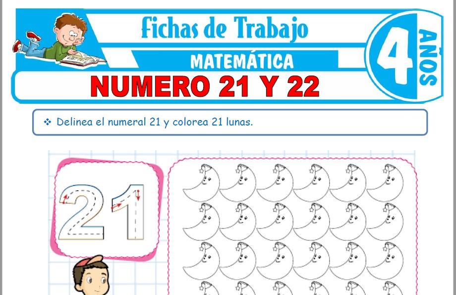 Modelos de la Ficha de Número 21 y 22 para Niños de Cuatro Años