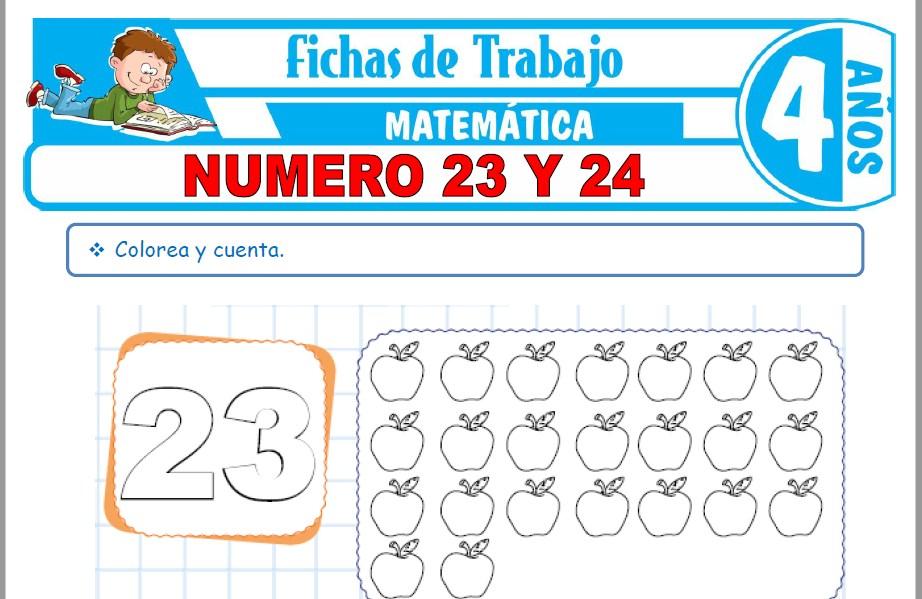 Modelos de la Ficha de Número 23 y 24 para Niños de Cuatro Años