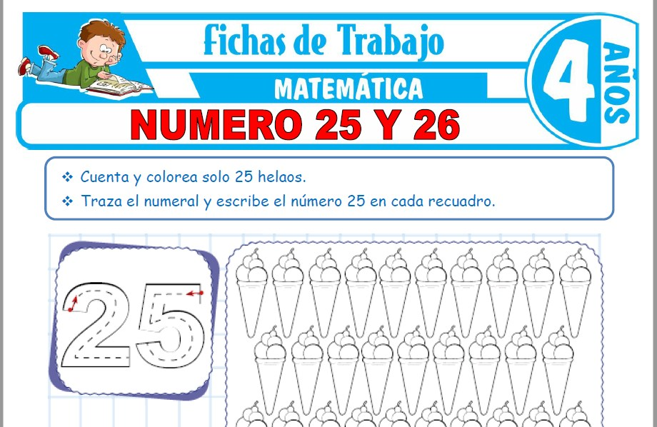 Modelos de la Ficha de Número 25 y 26 para Niños de Cuatro Años