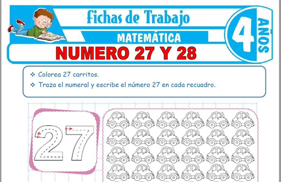 Modelos de la Ficha de Número 27 y 28 para Niños de Cuatro Años