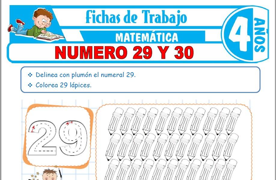 Modelos de la Ficha de Número 29 y 30 para Niños de Cuatro Años