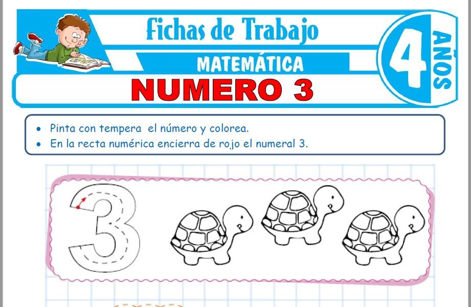 Modelos de la Ficha de Número 3 para Niños de Cuatro Años