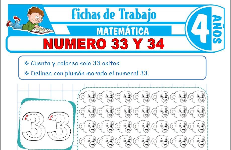 Modelos de la Ficha de Número 33 y 34 para Niños de Cuatro Años