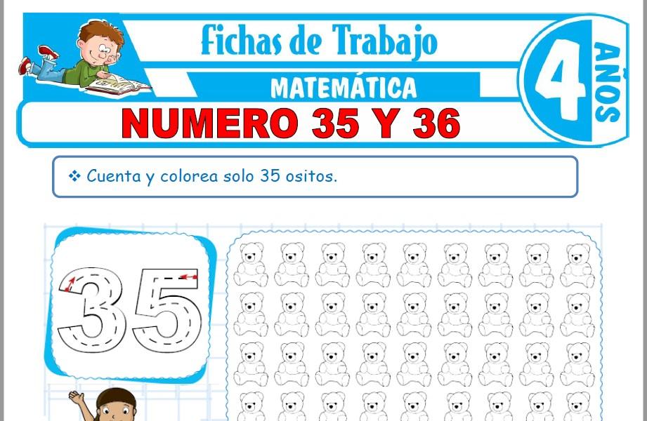 Modelos de la Ficha de Número 35 y 36 para Niños de Cuatro Años