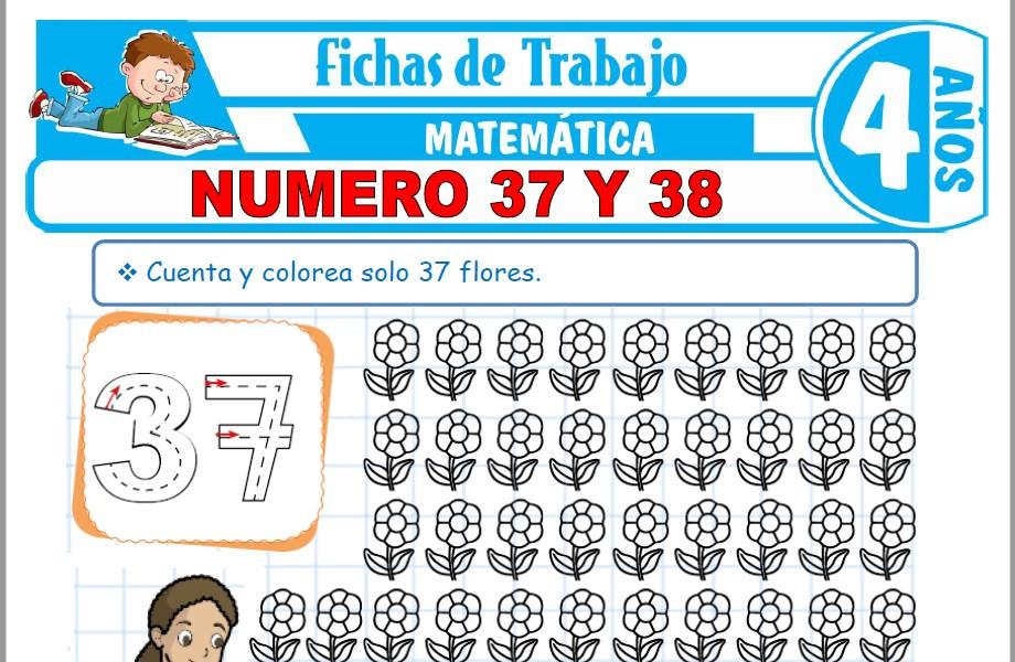 Modelos de la Ficha de Número 37 y 38 para Niños de Cuatro Años