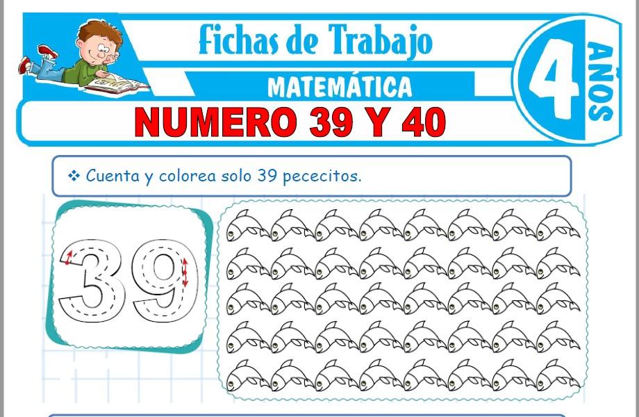Modelos de la Ficha de Número 39 y 40 para Niños de Cuatro Años