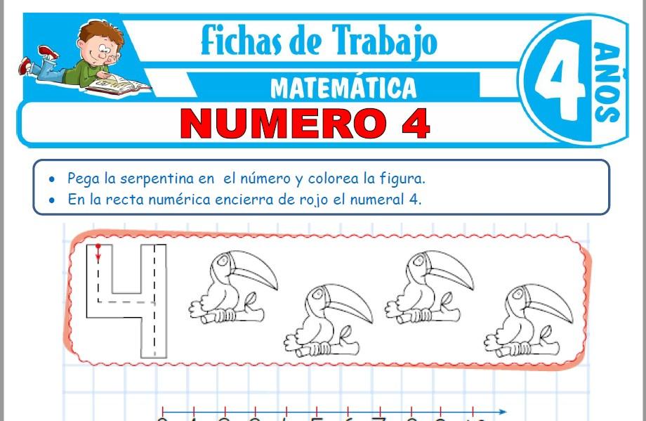 Modelos de la Ficha de Número 4 para Niños de Cuatro Años