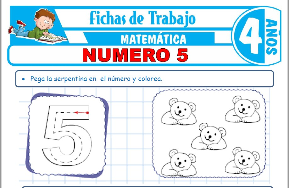 Modelos de la Ficha de Número 5 para Niños de Cuatro Años