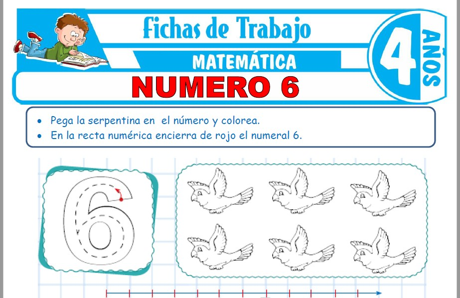 Modelos de la Ficha de Número 6 para Niños de Cuatro Años