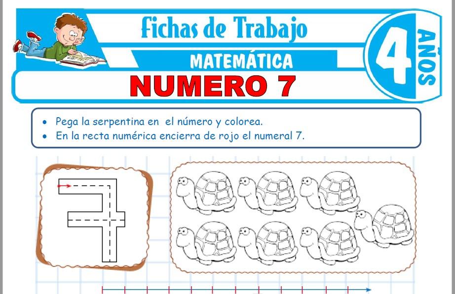 Modelos de la Ficha de Número 7 para Niños de Cuatro Años