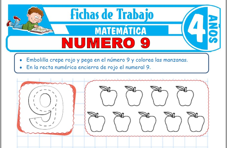 Modelos de la Ficha de Número 9 para Niños de Cuatro Años