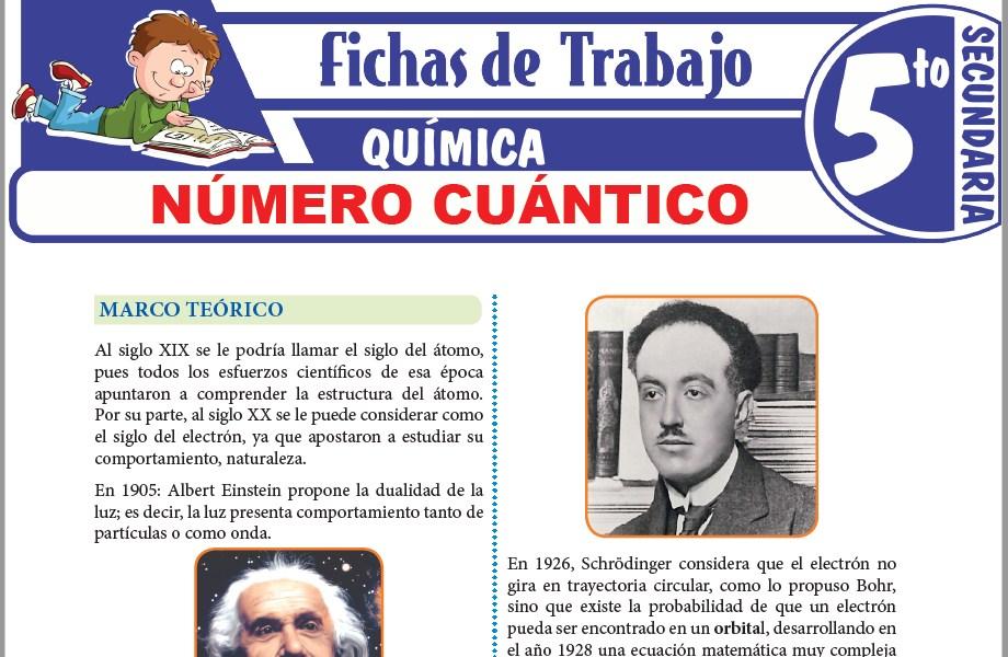 Modelos de la Ficha de Número cuántico para Quinto de Secundaria