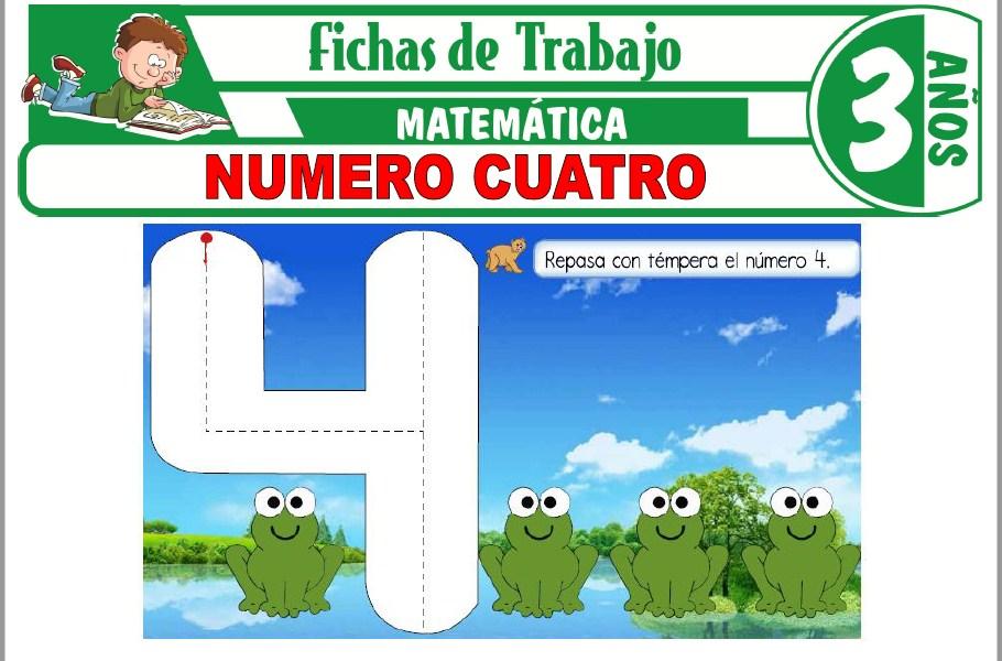 Modelos de la Ficha de Número cuatro para Niños de Tres Años