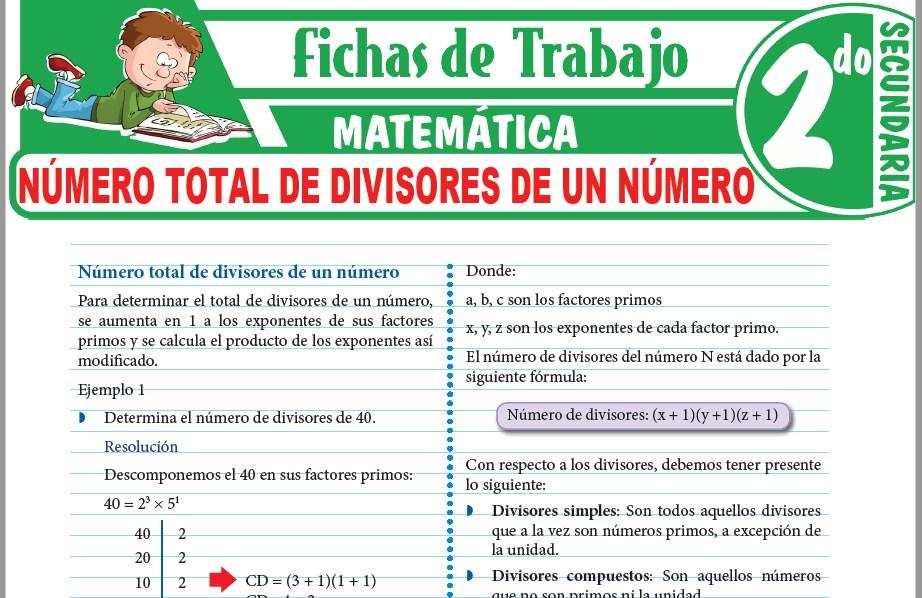 Modelos de la Ficha de Número total de divisores de un número para Segundo de Secundaria